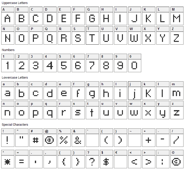 Xpaider Pixel Explosion 02 Font Character Map