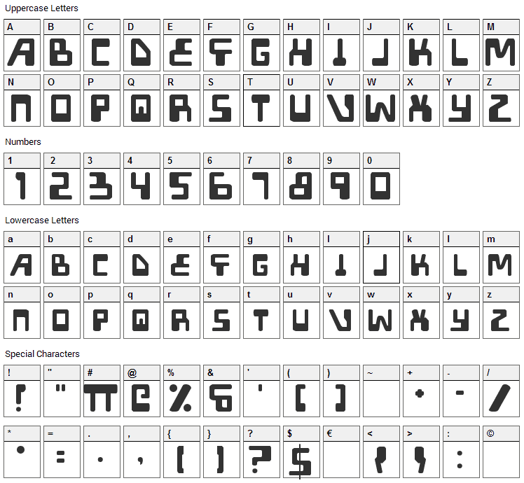 Xped Font Character Map