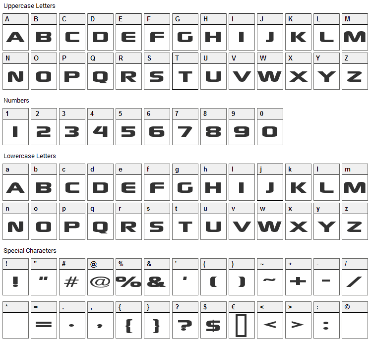 Xscale Font Character Map