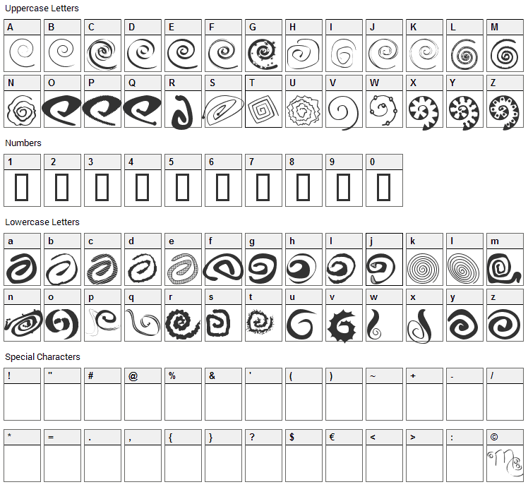 XSpiralmental Font Character Map
