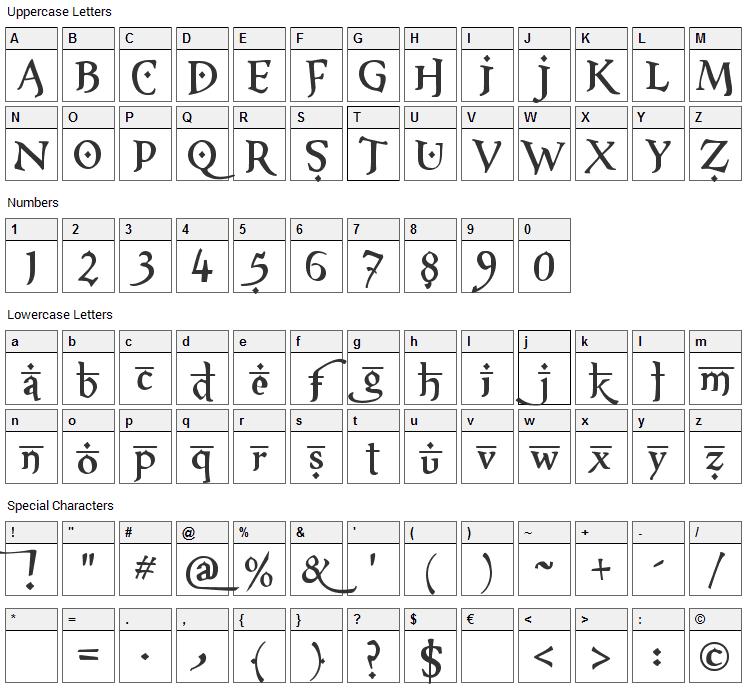 XXII Arabian Onenightstand Font Character Map