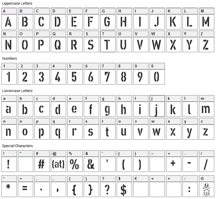 XXII Army Font Character Map