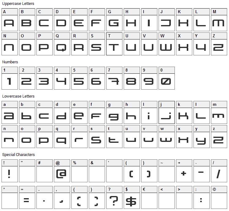 XXII Static Font Character Map