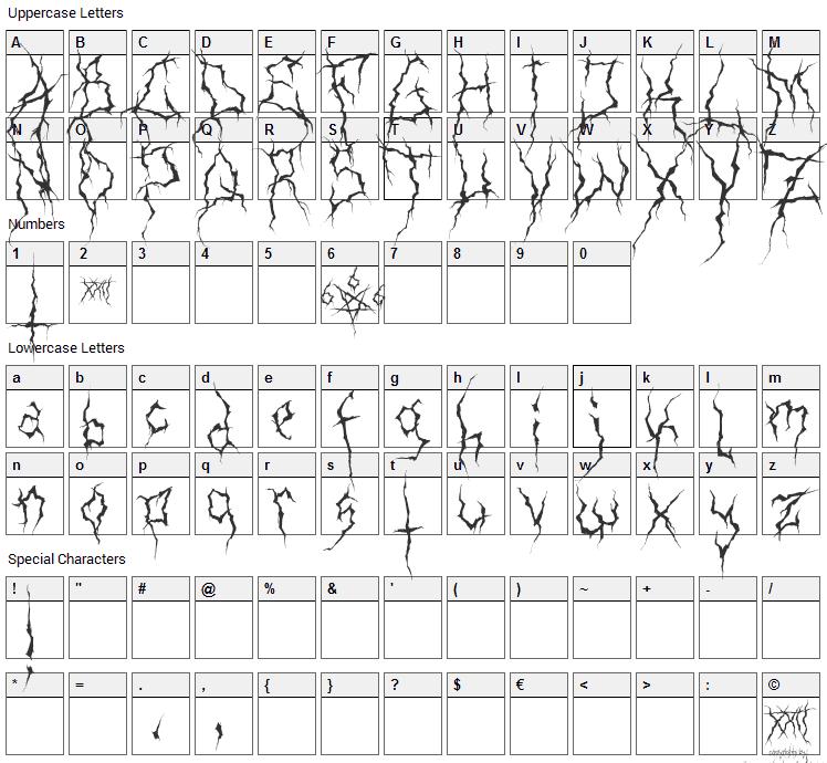 XXII Ultimate Black Metal Font Character Map
