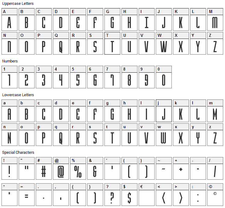 Y-Files Font Character Map