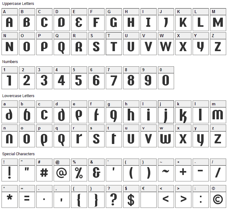 Y2K Analog Legacy Font Character Map