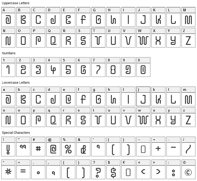Y2K Bug Font Character Map