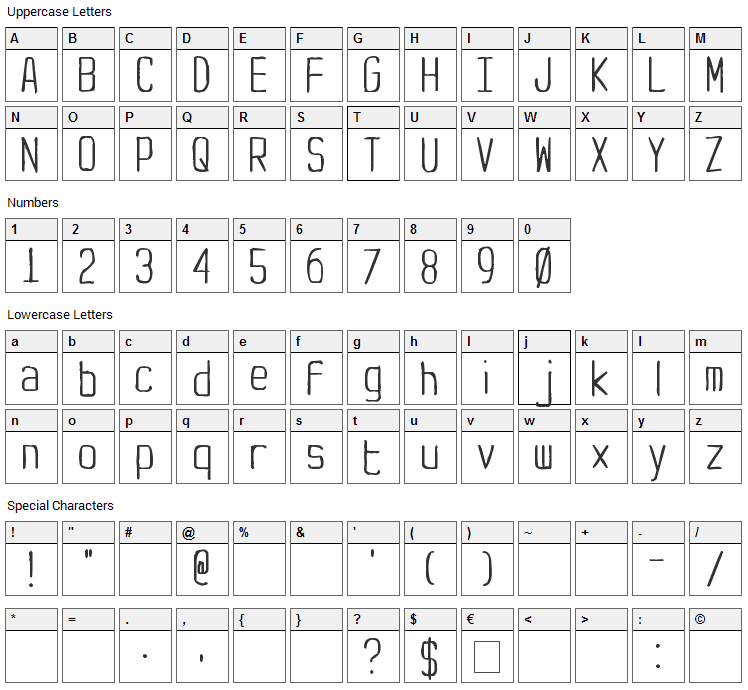Yachting Type Font Character Map
