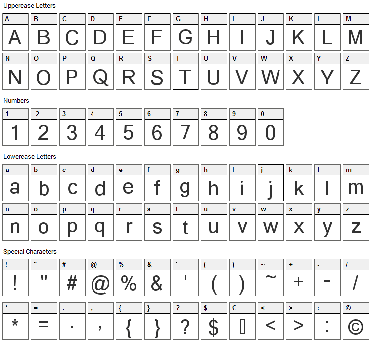 Yagora Font Character Map