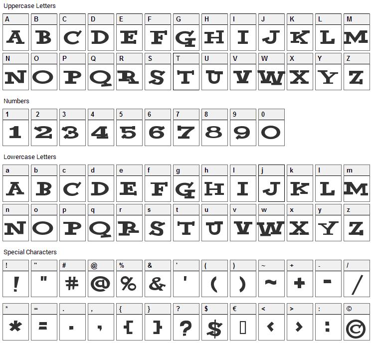 Yahoo Font Character Map