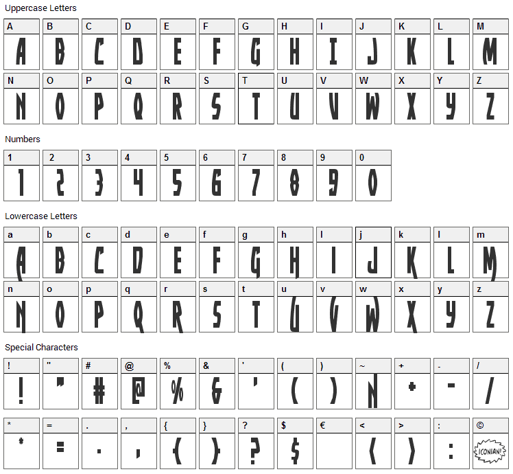 Yankee Clipper Font Character Map