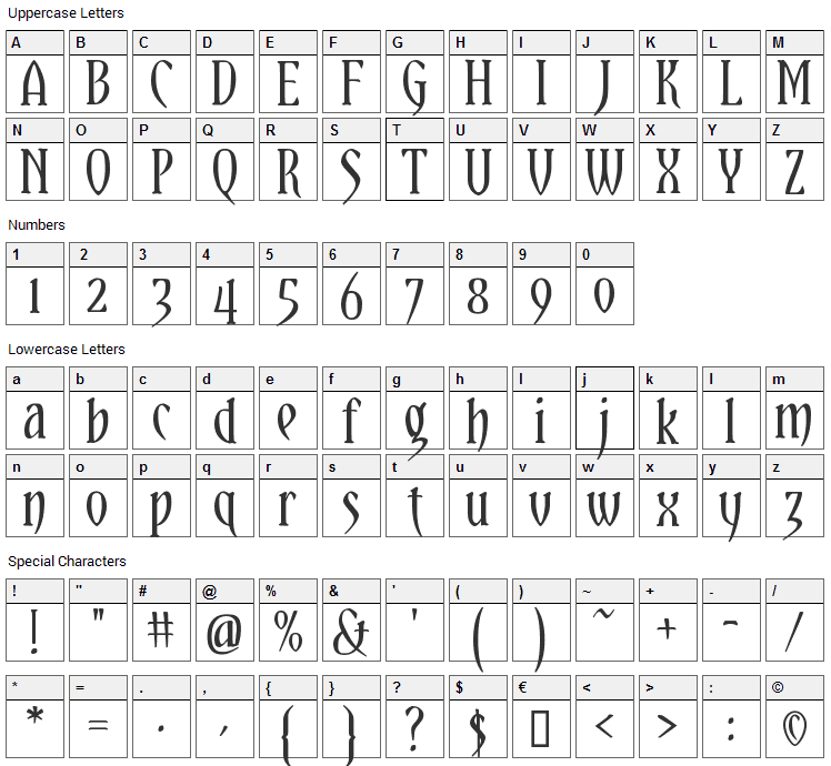 Yataghan Font Character Map
