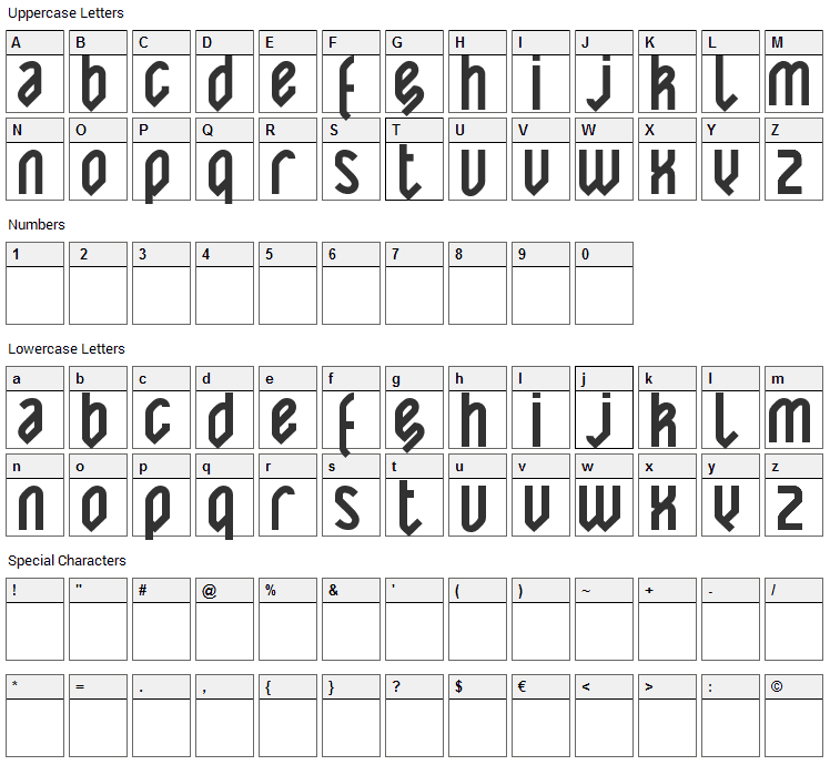 Yatis Black Font Character Map