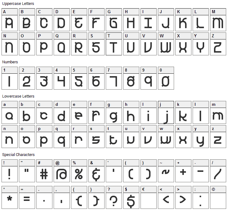 Yearend Font Character Map