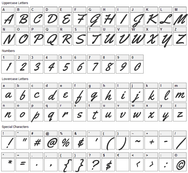 Yellowtail Font Character Map