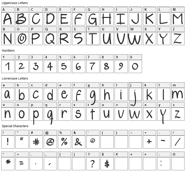 Yelly Font Character Map