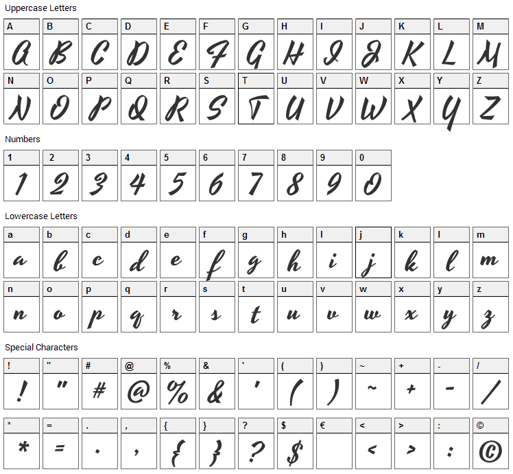 Yesteryear Font Character Map