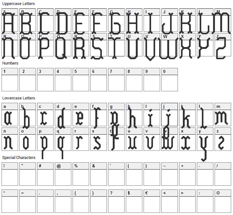 Yllia Font Character Map