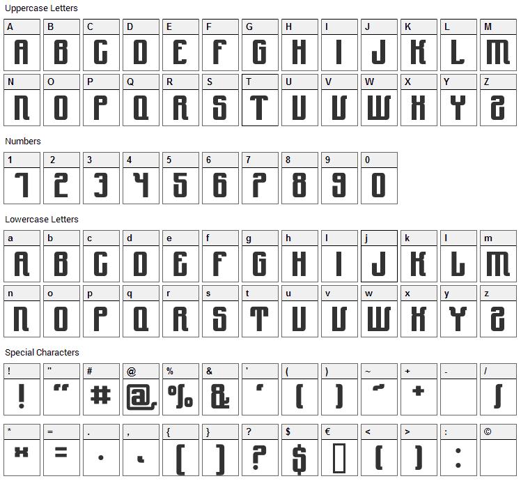 Yndu Font Character Map