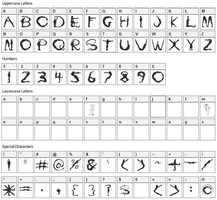 Yoga Font Character Map