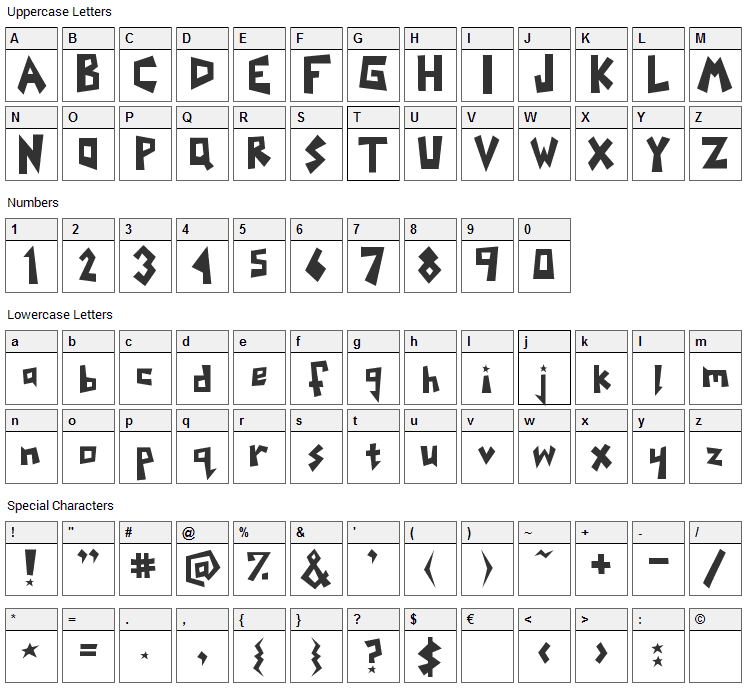Yoinks Font Character Map