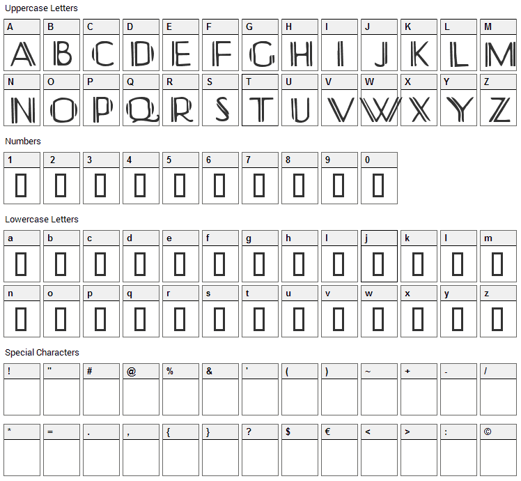 Yonkerismo Font Character Map