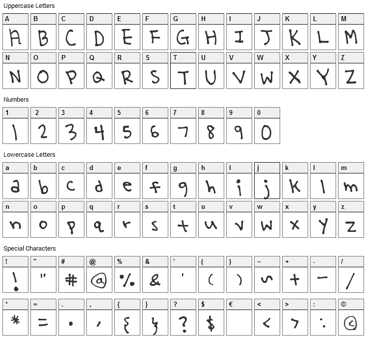Yoo Hae Mool Font Character Map