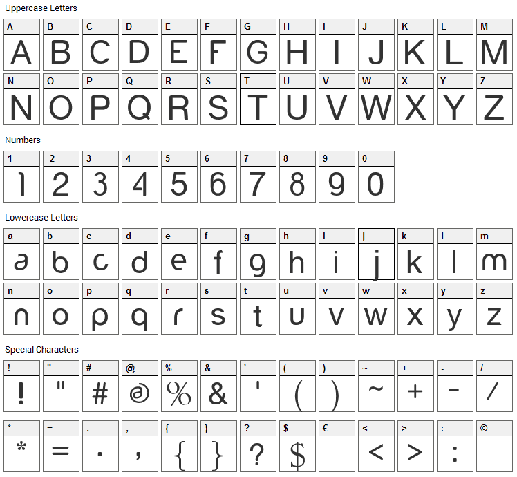 Yorkville Font Character Map