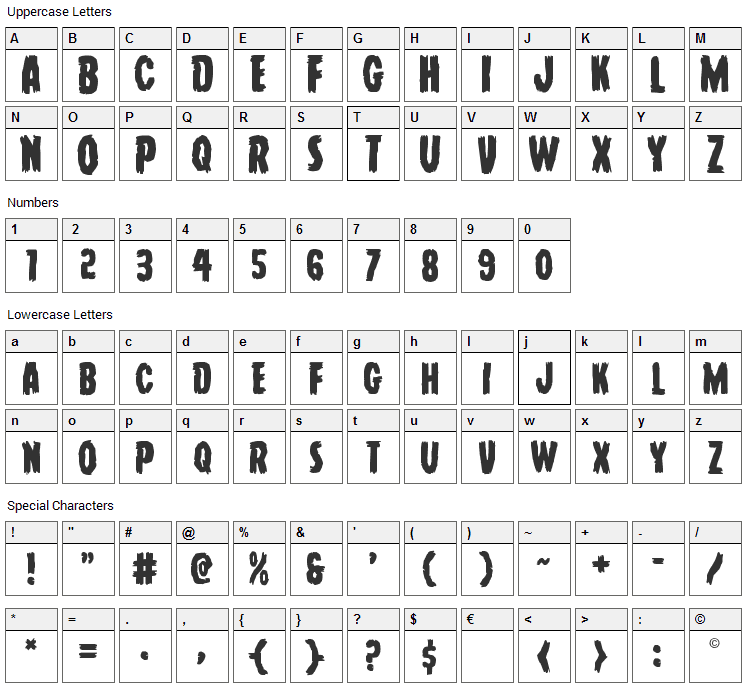 Young Frankenstein Font Character Map