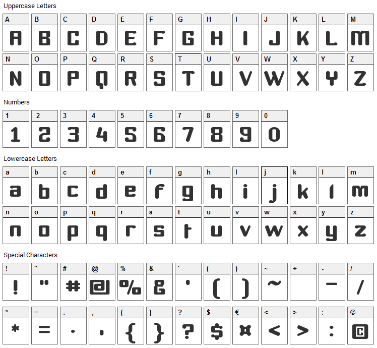 Youthanasia Font Character Map