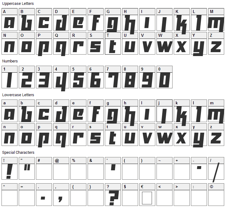 Yukarimobile Font Character Map