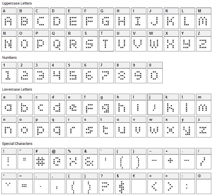 Zado Font Character Map