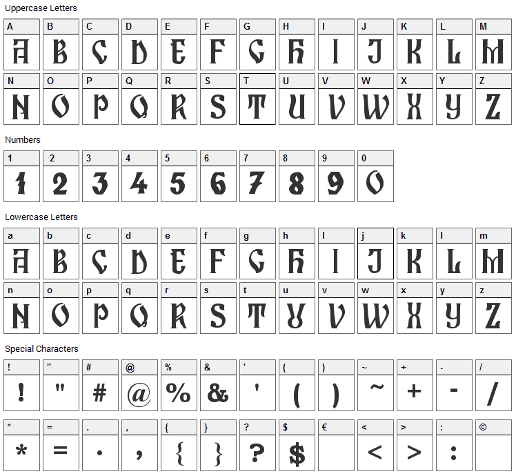 Zamolxis I Font Character Map