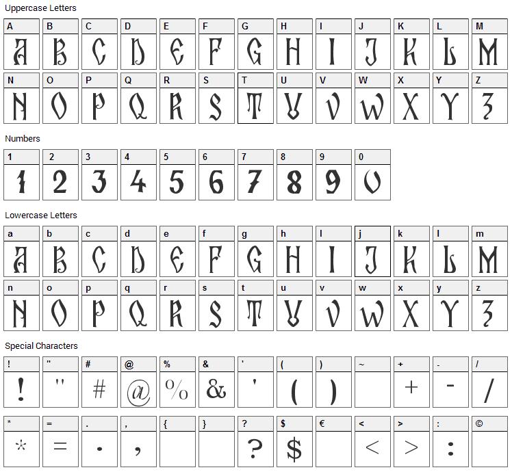 Zamolxis II Font Character Map