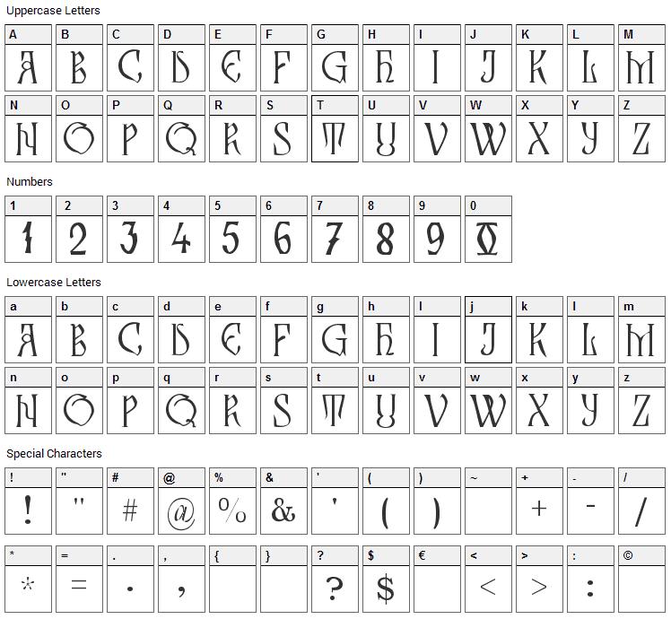 Zamolxis III Font Character Map