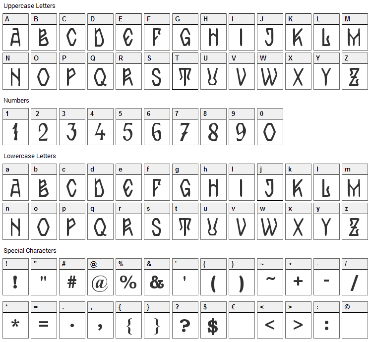 Zamolxis IV Font Character Map