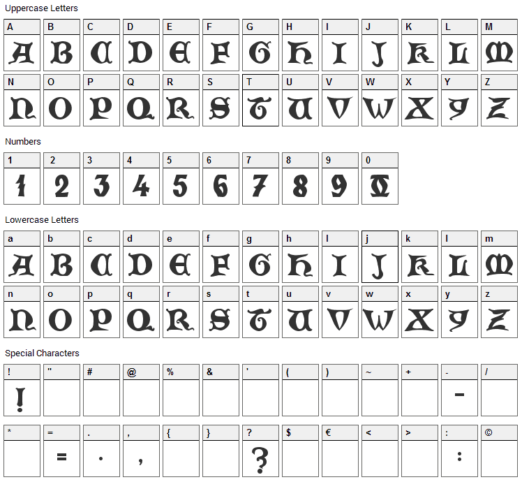 Zamolxis V Font Character Map