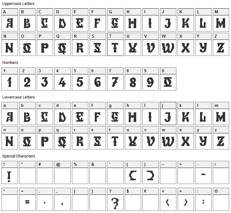Zamolxis VI Font Character Map