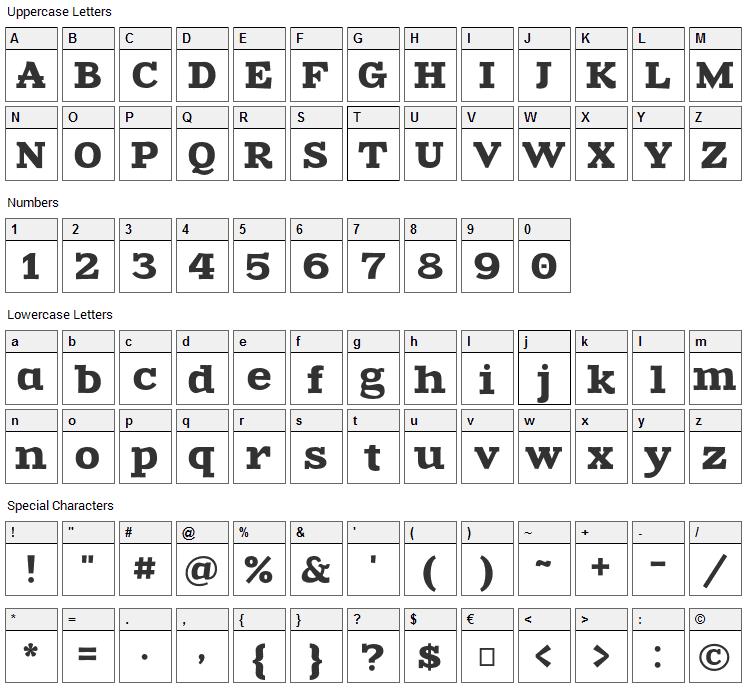 Zantroke Font Character Map
