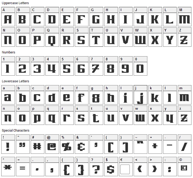 Zarathos Font Character Map
