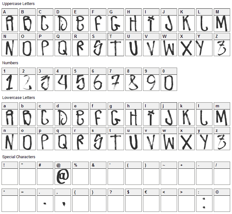 Zdarx Font Character Map