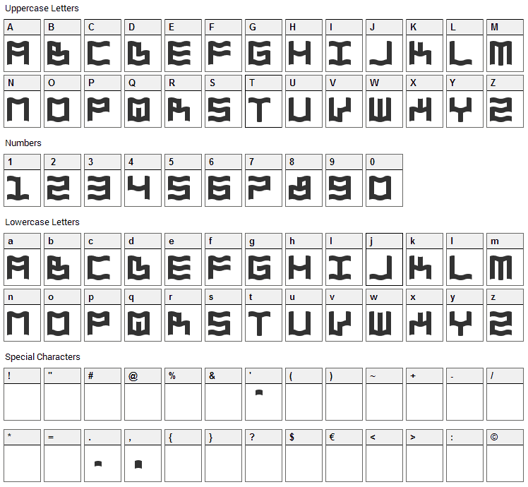 Zdyk Aquarius Font Character Map