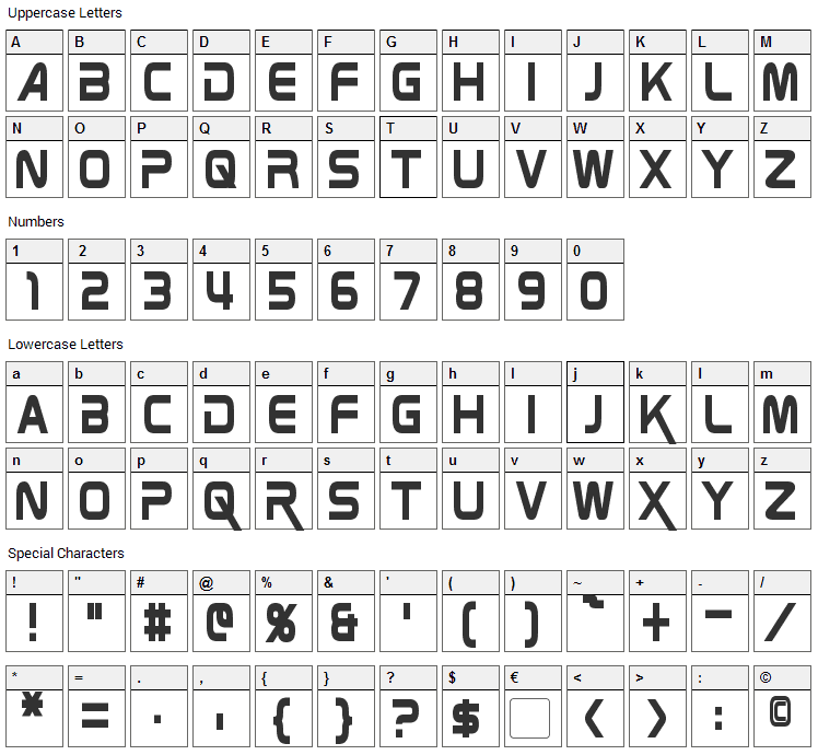 Zebulon Font Character Map