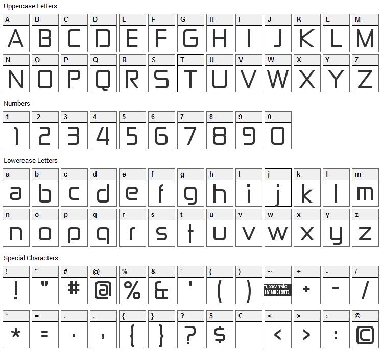 Zekton Font Character Map