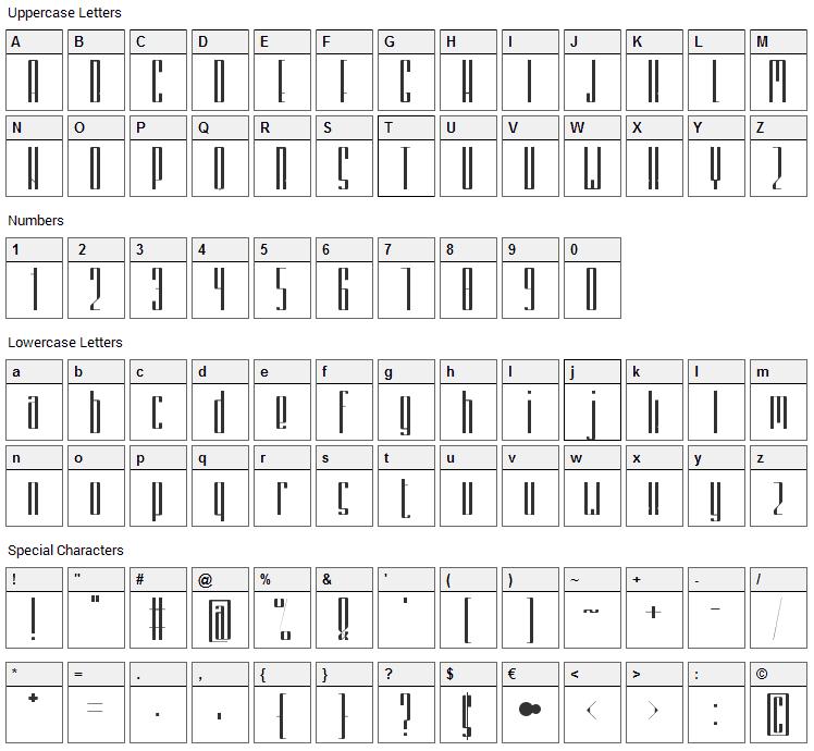 Zemiakovy Salat CE Font Character Map