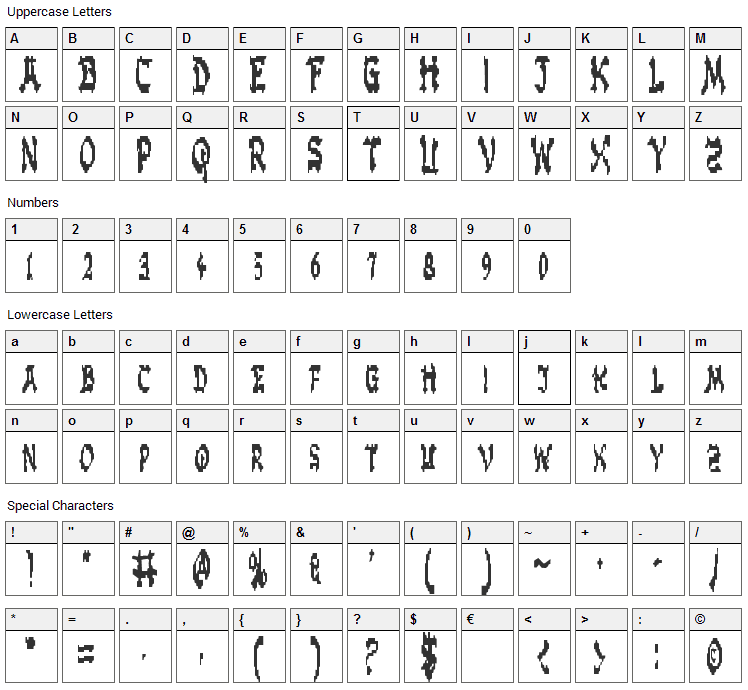 Zen Masters Font Character Map