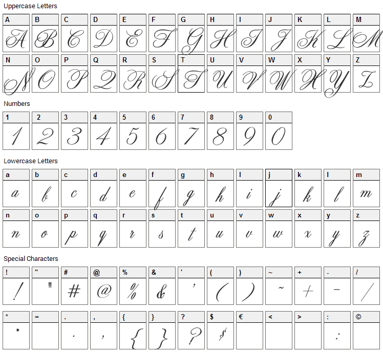 Zenith Font Character Map
