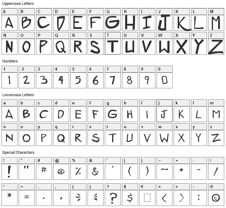 ZeroGene Font Character Map