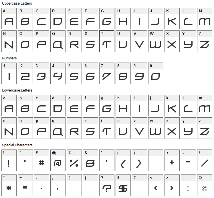 ZeroHour Font Character Map