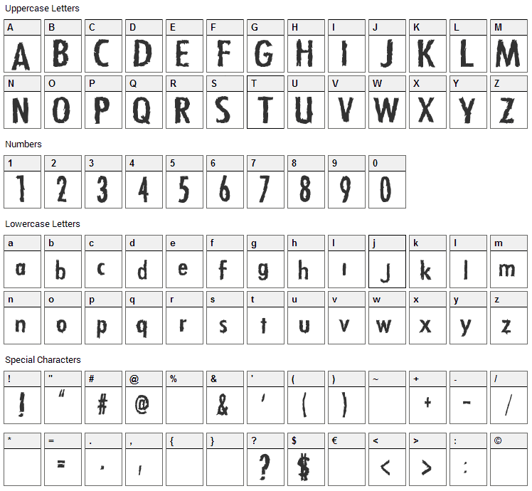 Zfonts Font Character Map